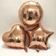 18 rose gold heart star round aluminum foil balloon birthday party decoration gradient rainbow