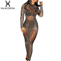 Sexy Shiny Solid Mesh Round Neck Long Sleeve Bodysuit Women Hot Drill Long Jumpsuit Body Women Playsuits combinaison femme 2018