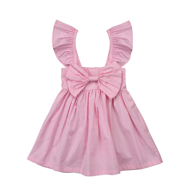 Pudcoco Toddler Kids Baby Girl Summer  Ruffle Bow Dress Princess Dress Clothes Outfits