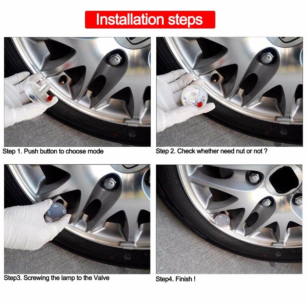 Купить с кэшбэком GEETANS Car Waterproof Solar Energy Wheel Light Decorative Flashing Colorful LED Tire Light Gas Nozzle Cap Motion Sensors CJ