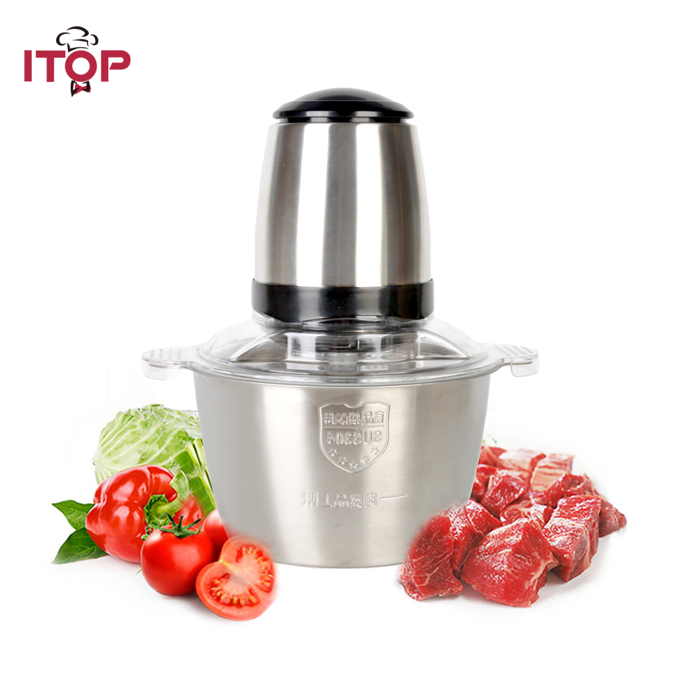 ITOP 350W High Speed Electric Meat Grinder Stainless Steel Bowl 2L Suitable for Home use  Meat Chopper doglemi dm70055 l stainless steel bowl for pet dog silver