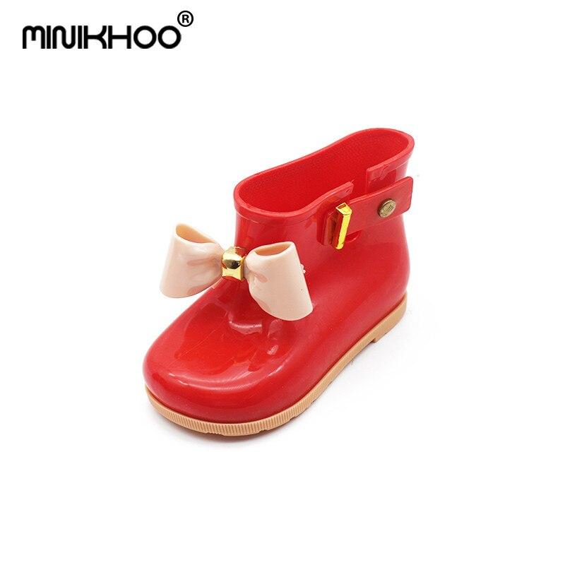 Mini Melissa 2018 New Children Jelly Bowknife Rain Boots Non-slip Waterproof Girls Rain Boots Melissa Jelly Shoes Princess Boots