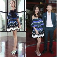 2019 Mini Dress Sexy Zhao Liying Celebrity Backless Slash Neck Women Bow Short Striped Night Club Body con PartyDressesWholesale