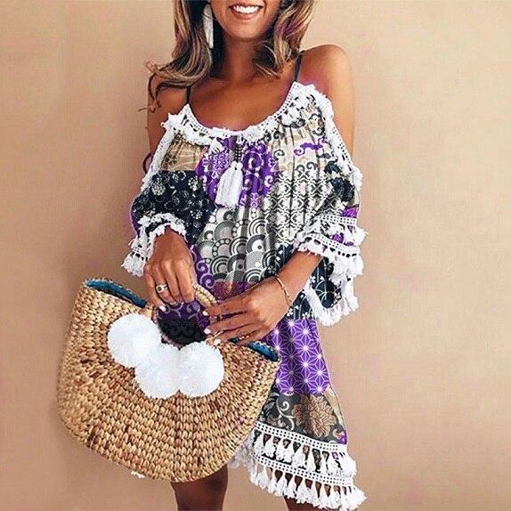 ALI shop ...  ... 32971047007 ... 3 ... Women Vintage Casual Dress Off Shoulder Sexy Summer Dress 2019 Tassel Party Beach Mini Dresses Sling Sundress Vestidos Sukienka ...