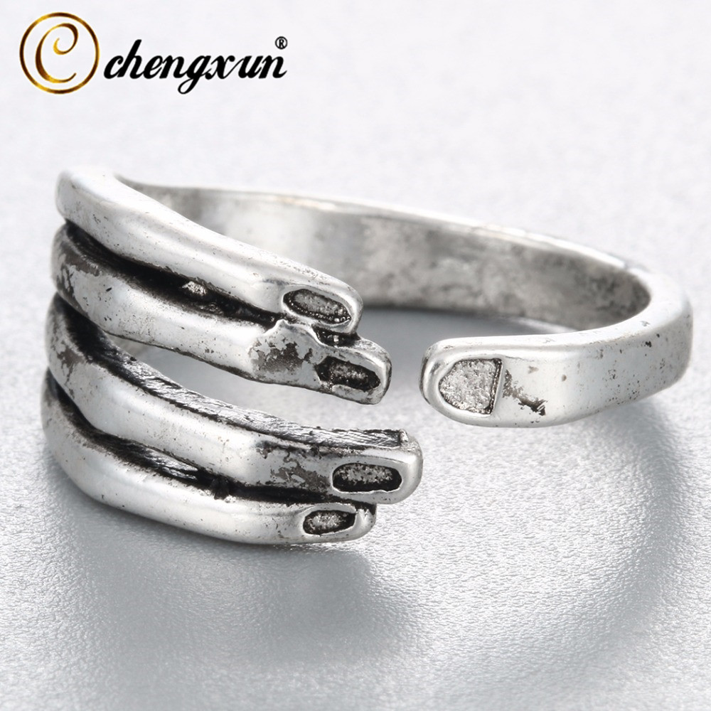 CHENGXUN Punk 3D Hand Finger Shape Rings Women Ring Adjustable Open Finger Rings Antique Men Viking Style