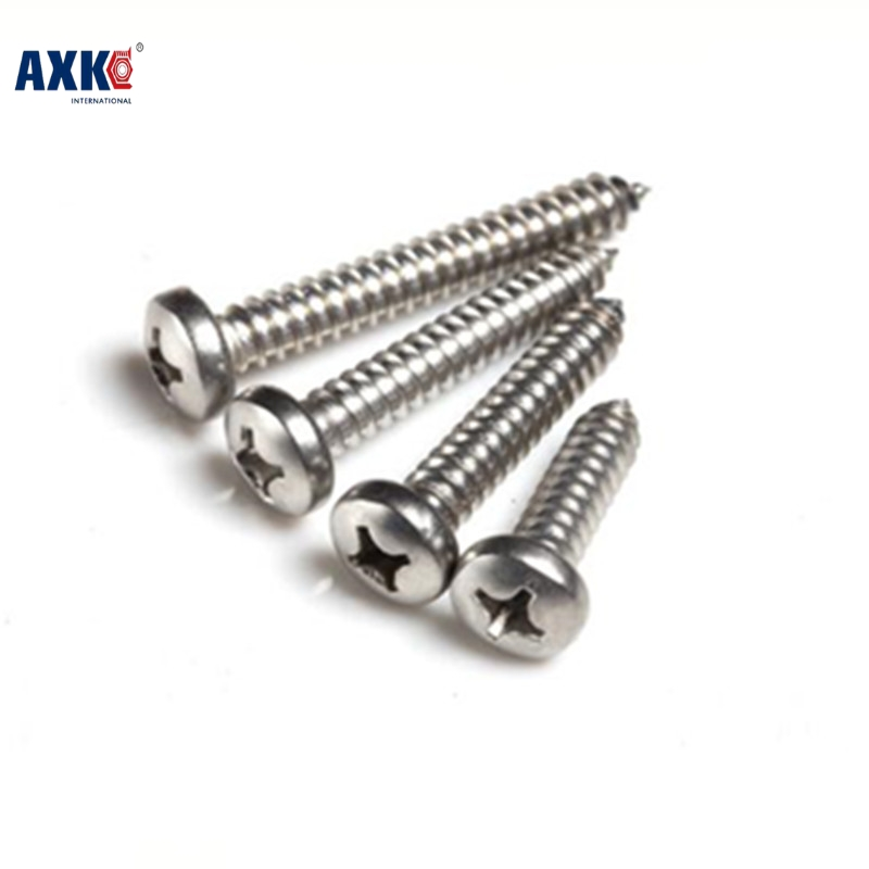 Axk 100pcs M1.7 M2 M3 Stainless Steel Electronic Screw Cross Recessed Phillips Round Pan Head Self Tapping Screw m3 316 stainless steel phillips pan head self tapping screw marine grade