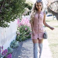 New Sale 2016 Faux Suede Women Bandage Pink Pocket Dress Hollow Out Deep V Neck