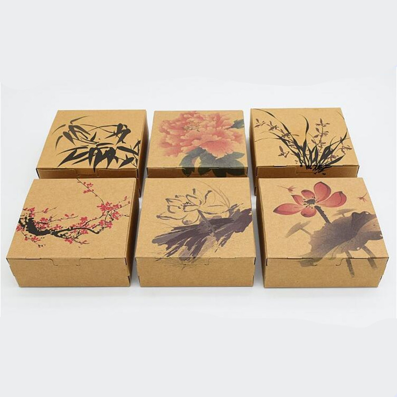 10pcs/lot Chinese Style Brown Kraft Paper Packing Boxes Packaging for Candy Biscuit Chocolate Cookie Gift Box