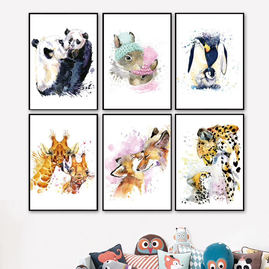 Watercolor Panda Rabbit Penguin Giraffe Fox Leopard Nordic Posters And Print Animal Wall Art Canvas Painting Pictures Decor