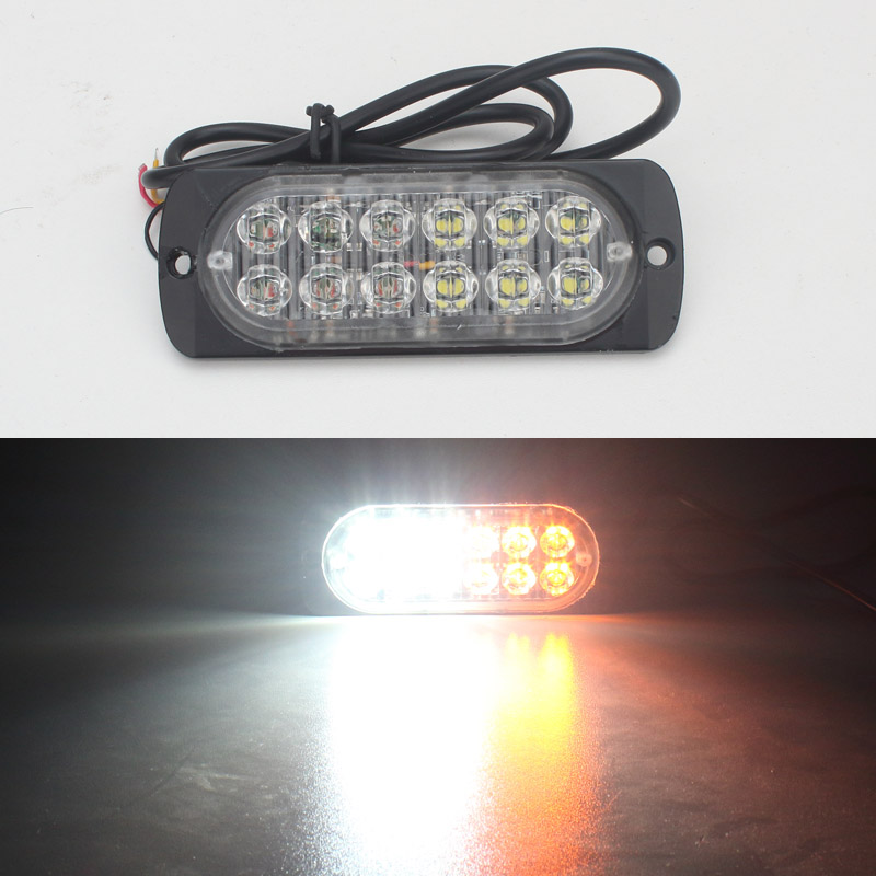 Ultra-thin High Power 36W 12V 24V 12LED Car Truck Pickup Emergency Side Strobe Warning Flashing light lamp car styling