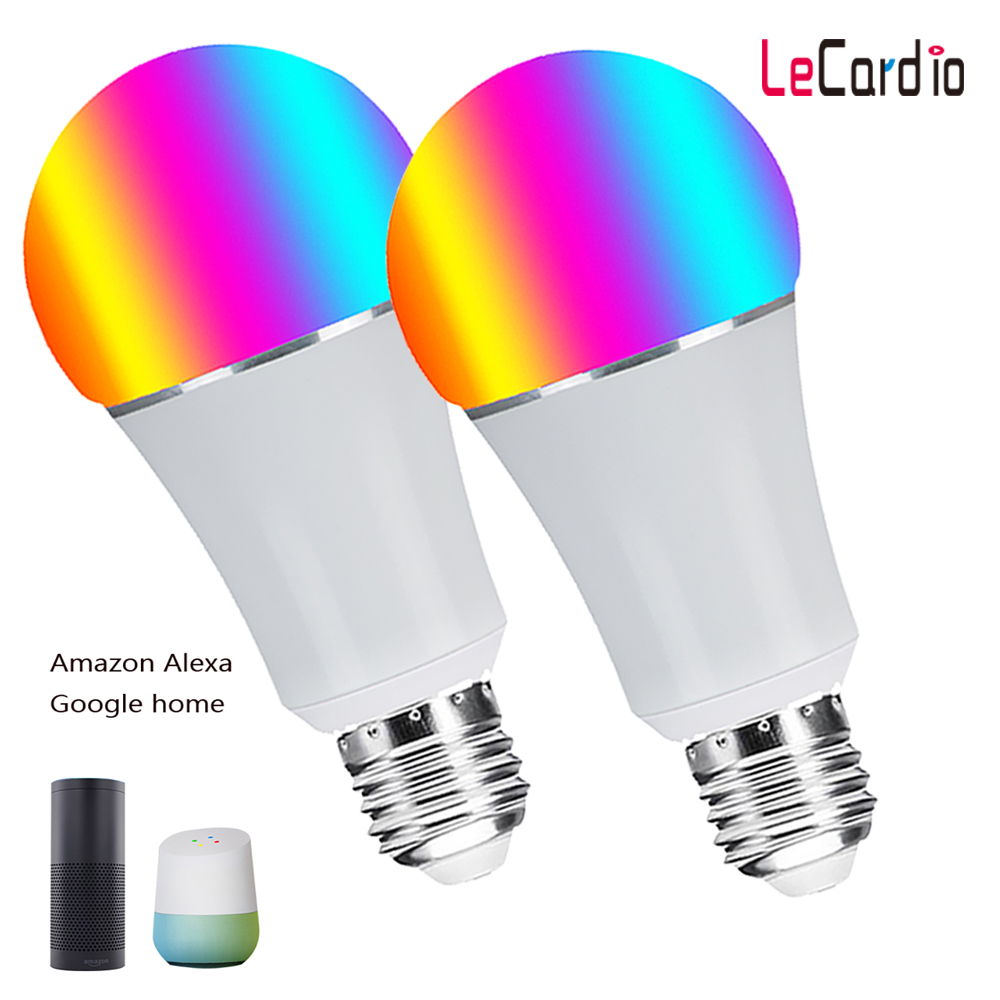 16 Million Color Changing Smart Wifi Led Light, 7W E26 E27 B22 Night Light Compatible with Alexa Echo & Google Home