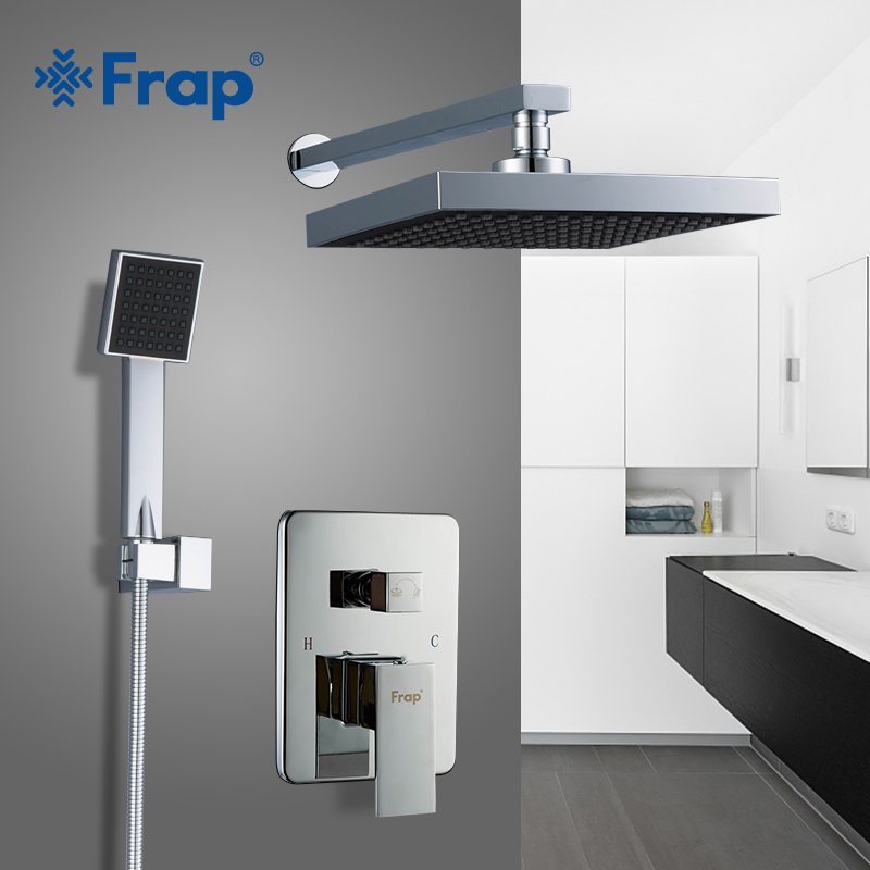 Frap bathroom Shower Faucet round Square ABS Shower Head Bath Shower Mixers set with Handshower Wall