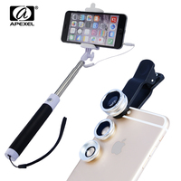 Selfie Stok bedrade Monopod Apexel Monopod Met kabel 3 in 1 Vis Eye Groothoek Macro lens voor Sumsung iPhone 7 S Plus en 96CX3