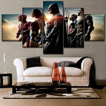 Justice League Science Fiction Modern Decorative Movie HD Print Home Decor 5 Piece Paintings Canvas Wall Art for