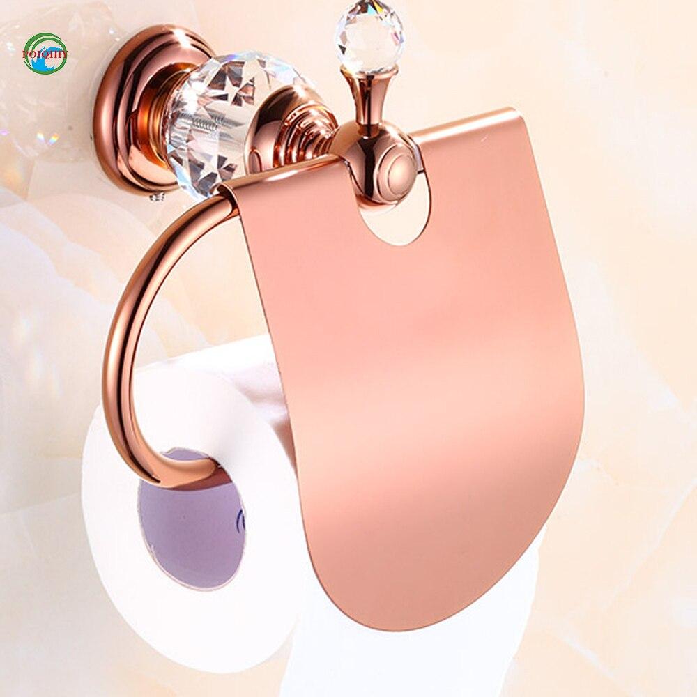 Luxury crystal brass gold paper box roll holder toilet gold paper holder tissue box Bathroom Accessories bath hardware