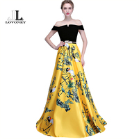 LOVONEY Flower Pattern Evening Dress Long Vintage Prom Party Dresses Evening Gown Women Formal Occasion Dress