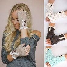 Bluelans женские кружевные вязаные перчатки без пальцев, зимние теплые рукавицы на пуговицах