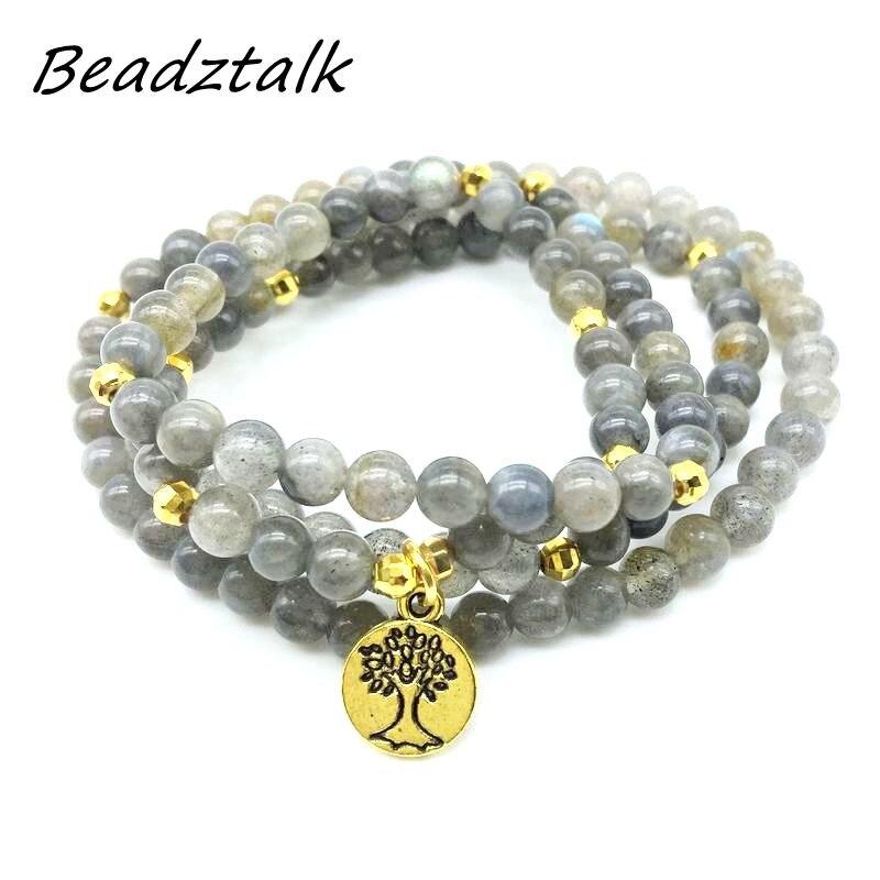 Mala Stein Perlen Labradorit Charme Armband Baum Charme Halskette Gold Farbe Yoga Armband Tropfen Verschiffen
