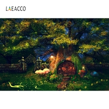 Laeacco Cartoon Fairy Tale House Photographic Backdrop Customized Baby Party Decoration Photography Backgrounds For Photo Studio
