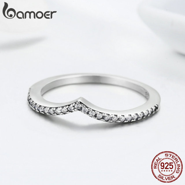 BAMOER 100% 925 Sterling Silver Water Droplet Clear CZ Finger Rings for Women Wedding Engagement Jewelry Girlfriend Gift PA7649 4