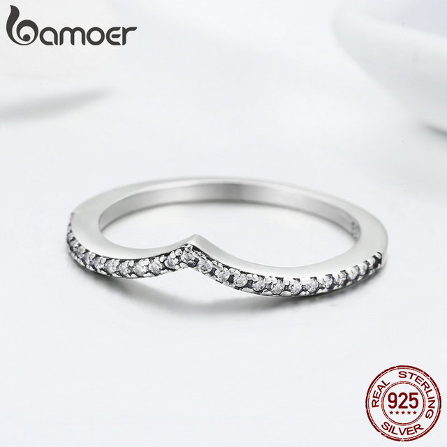 BAMOER 100% 925 Sterling Silver Water Droplet Clear CZ Finger Rings for Women Wedding Engagement Jewelry Girlfriend Gift PA7649