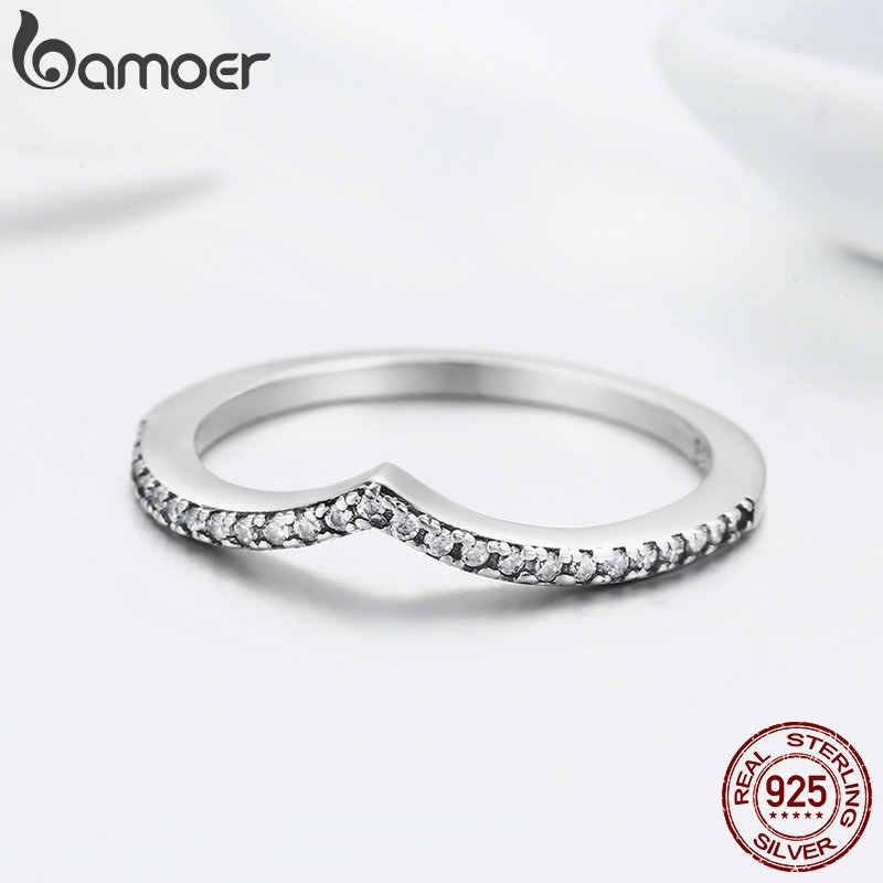 BAMOER 100% 925 ayar gümüş su damlacık temizle CZ parmak yüzük kadınlar için düğün nişan takı kız arkadaşı hediye PA7649