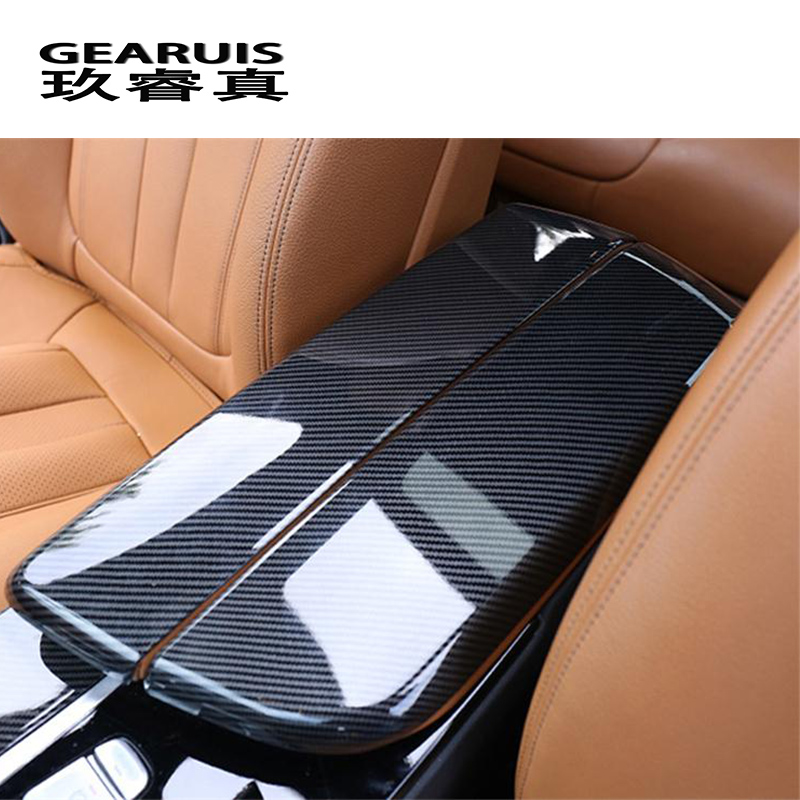Car Styling Stowing Tidying Armrest Box Carbon Fiber Protect Stickers Covers For BMW 5 Series G30 G38 Interior Auto Accessories