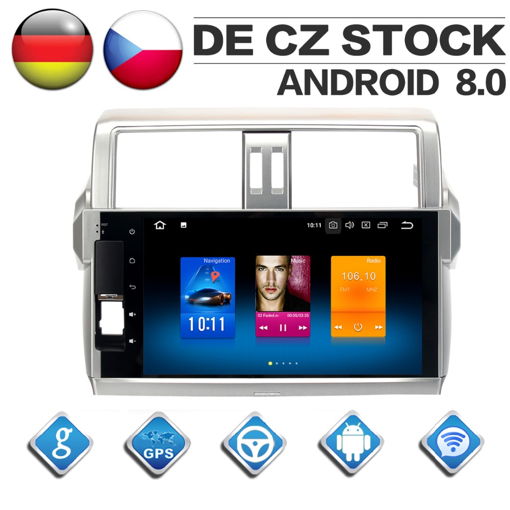 10 2 IPS Screen Android 8 0 for Toyota Prado 150 2014 2015 2016 2017 Build