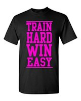 Train Hard Win Easy T Shirt Gym Workout Shirts New Mens Spring Summer Dress Short Sleeve