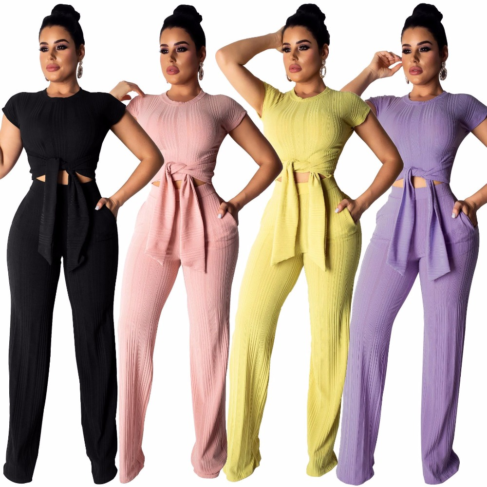Pure Color Two Piece Outfits Sweet Style Lady O Neck Short Sleeve Tie-Up Top And High Waist Straight Trousers With Pocket A8319