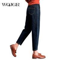 WQJGR Herbst Jeans Frau Neun Teil Frau Jeans Einfache Wird Code Rettich Keucht Hohe Taille Breite Bein Haren Hosen