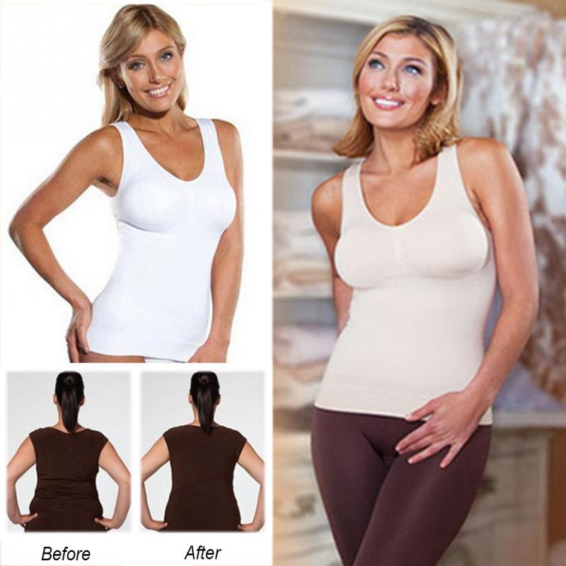 bff43ecd4f874 2018 Plus Size Bra Cami Tank Top Women Body Shaper Removable Shaper  Underwear Slimming Vest Corset Shapewear
