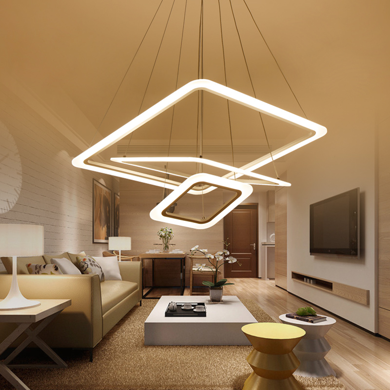 Modern Ceiling Light Dinner Room Pendant Lamp Kitchen: Modern 4 Square Rings LED Pendant Lights For Living Room