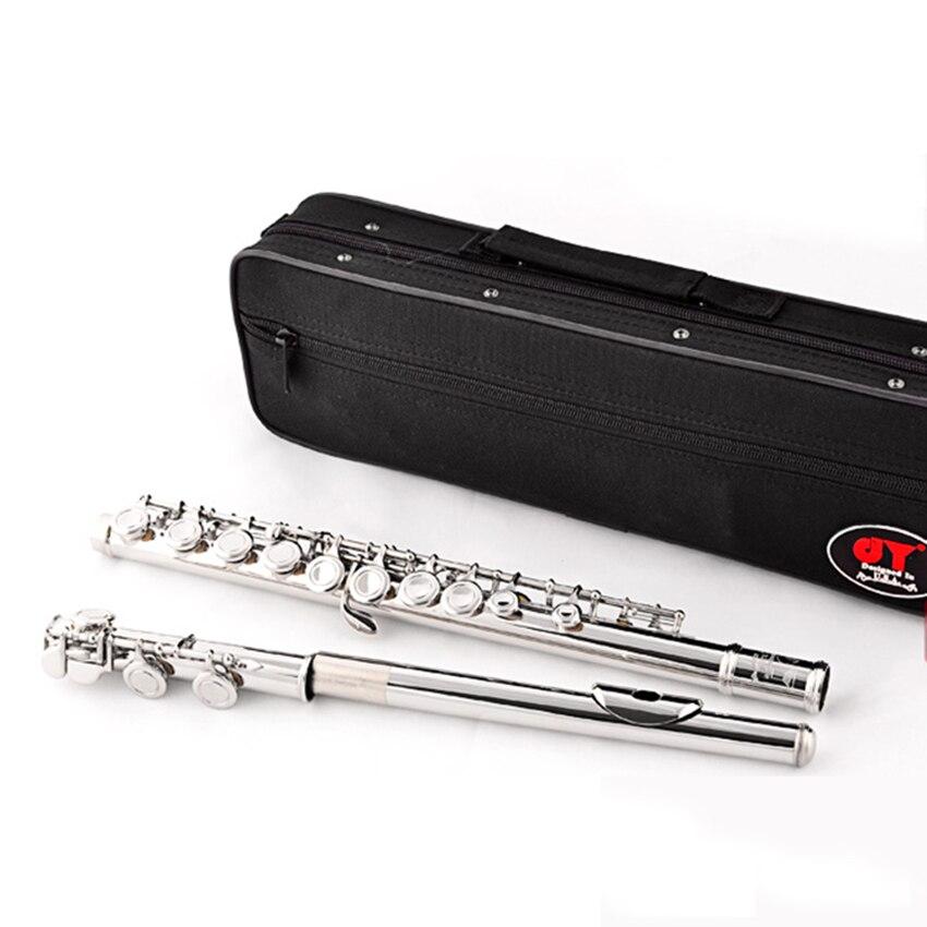 Качество Флейта духовой музыкальный инструмент C тон Флейта ленты 16 закрытым отверстия e ключ Никель покрытием flauta с случае