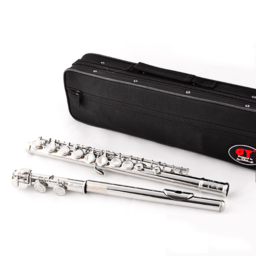 Quality Flute Wind Musical Instrument C Tone Flute Sliver 16 Closed Holes with E key Nickel Plated Flauta with Case wholesale 17 e key trepanned dual flute musical instrument
