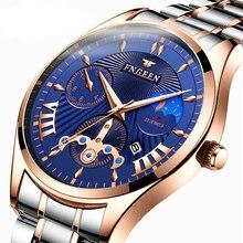 FNGEEN brand business casual watch mens earth quartz steel waterproof gold