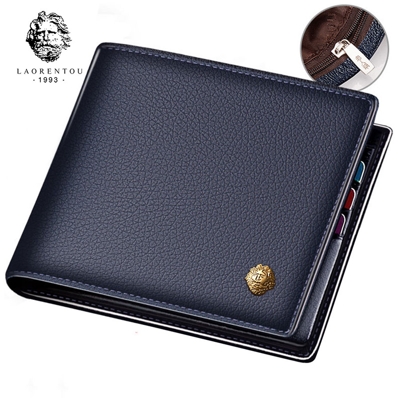 LAORENTOU Wallet Men Genuine Leather Standard Card Holders Short Wallet Vintage Cow Leather Man Wallets Casual Card Purse(China)