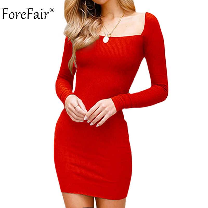 d69b8afb3f4 Forefair Vintage Sexy Bodycon Mini Party Club Dress Women Autumn Black Red  Long Sleeve Slim Black