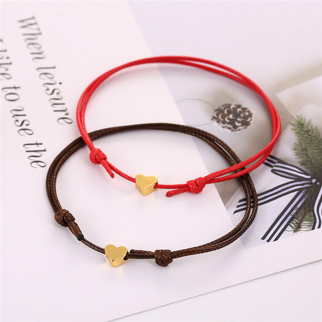 Bracelet Couple Distance Rouge et Café