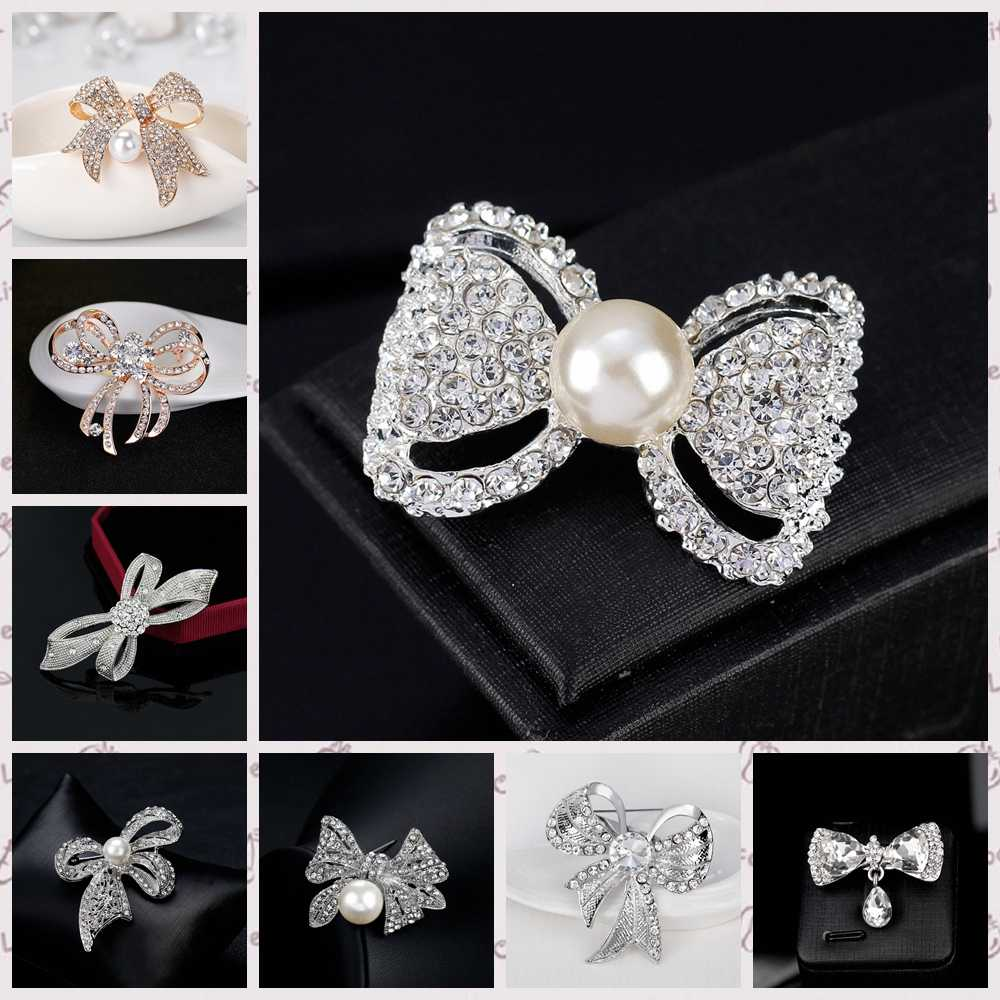 Attractive Rhinestone Bow Brooch Butterfly Gold Silver Color Simulated Pearl Brooches Pins for Wedding Brooch Bouquet