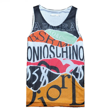 Fashion font b Men s b font Tank Tops Jersey Letter Graffiti 3D Print Double Mesh