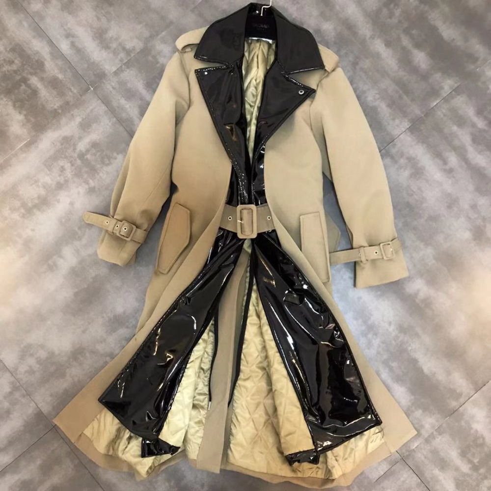 Women Glossy PU Patchwork Cotton   Trench   Coat Fake Two Pieces Khaki Turn Down Collar Long Section Adjustable Belt Windbreaker