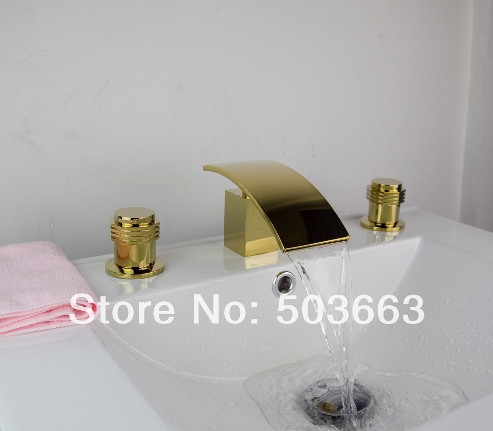 luxury Polished Golden Waterfall 3 Pieces 2 Lever Bathroom Bathtub Basin Sink Faucet Vanity Mixer Tap Deck Mounted MF-616 free shipping polished chrome finish new wall mounted waterfall bathroom bathtub handheld shower tap mixer faucet yt 5333