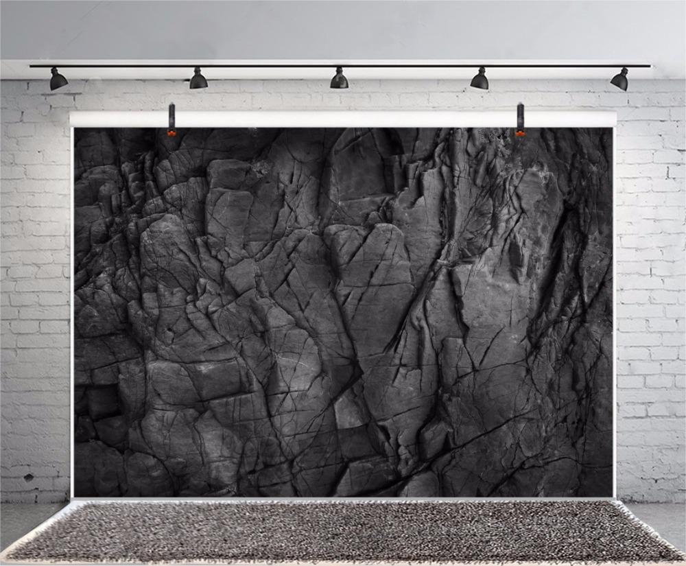 Photo Backgrounds Dark Black Carbon Stone Marble Surface Texture Pattern Cave Portrait Photographic Backdrops Photocall Studio image