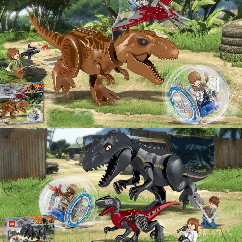 Jurassic Dinosaur World Park Tyrannosaurs Rex Model Building Blocks Enlighten Figure Toys For Children Compatible With Legoings fopcc 2pcs sets 79151 jurassic dinosaur world figures tyrannosaurs rex building blocks compatible with dinosaur toys legoings
