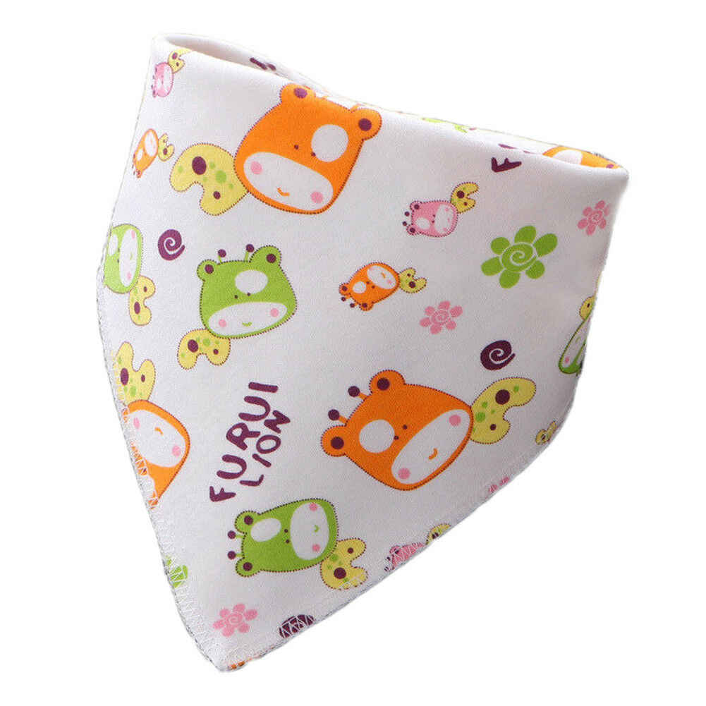 1X น่ารักพิมพ์มีเด็กผ้าพันคอผ้าพันคอเด็กทารกการ์ตูนน่ารักผ้าฝ้ายเด็กผ้าพันคอ Burp Feeding สามเหลี่ยม Slabber