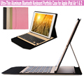 4 GIFTS New Fashion Ultra-Thin Aluminum Wireless Bluetooth Keyboard For Apple iPad Air 1 & 2 9.7 Inch Tablet With Portfolio Case