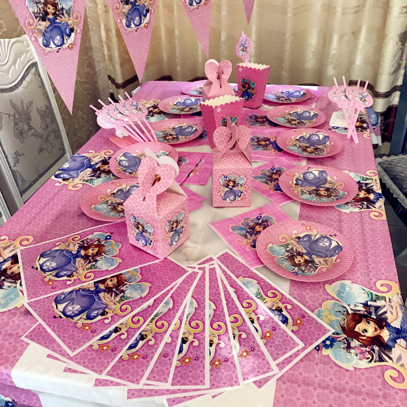 Princess Sofia The First Birthday Party Decorations Disposable Paper Plastic Table Cloths Covers Baby Shower Event In Tableware