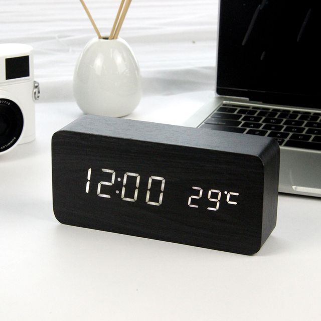 LED Wooden Alarm Clock Watch Table Voice Control
