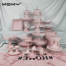 18 Pcs Thin Disk Wedding Cupcake Set Tray Dessert Metal Crystal 3 Tier Wholesale Vintage Gold White Pink Birthday Cake Stand